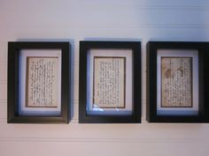 Gramma's Old Handwritten Recipes  mounted in $1store shadow box frames