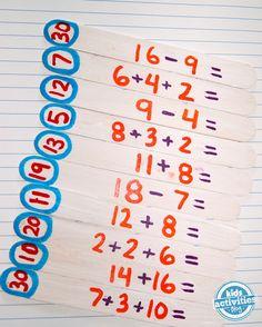 kid activities, craft sticks, math puzzler, diy math puzzles
