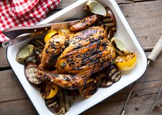 Grill-Roasted Chicken with Lemons, Artichokes, and Eggplant by bonappetit #Chicken