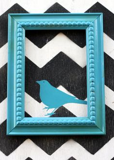 Chevron Wall Art - frame on top of canvas