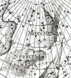 """Mensa, introduced by Lacaille under the name Mons Mensae, as illustrated in the Uranographia of Johann Bode (1801). Nubecula Major is the Large Magellanic Cloud, representing the cloud that caps the real Table Mountain.Mona Evans, """"Lacaille's Skies – Arts"""" http://www.bellaonline.com/articles/art184008.asp"""