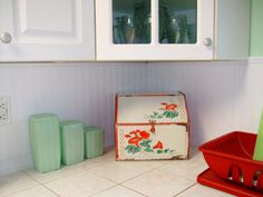 Vintage canisters and breadbox