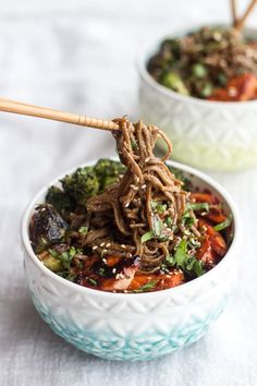 Hoisin Caramelized Salmon and Sesame Soba Noodle Bowls