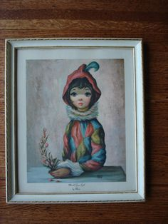 MID CENTURY Mardi Gras Girl Big Eyes 60's Lithograph by Liinaloom, $49.00