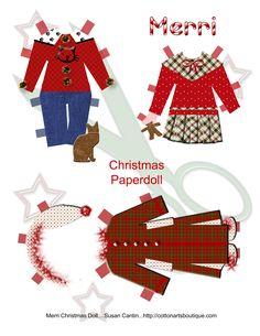 paper dolls, christma idea, christma papercraft, merri christma, christma font, christmas paper, doll christma