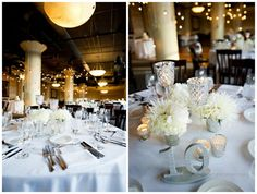 Mercury Glass Collection Centerpiece. Glitter Table Numbers. Industrial Lights  Fulton's On The River Wedding. Summer Jean Photography. Sweetchic Events. Larkspur.