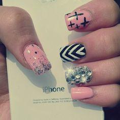 cute pink nails with rhinestone junk nail design love it!