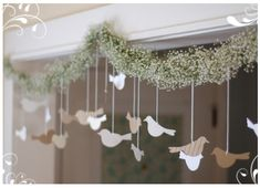 Hanging doves garland for Christmas.