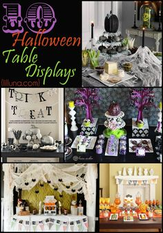 10 Halloween Table Displays! Soo fun for Halloween party decor! { lilluna.com }