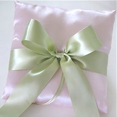 Pink and Green Satin Ring Pillow