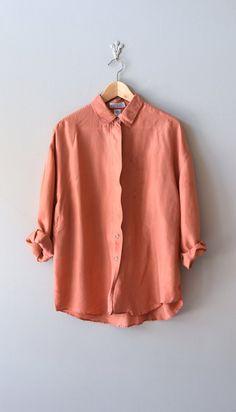 1980s silk blouse / vintage silk shirt / Terra Cotta silk blouse