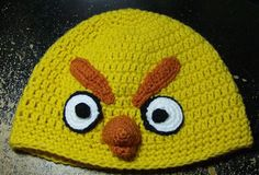 Free Crochet Yellow Angry Bird Hat Pattern.