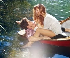 kiss, romanc, romantic couples, outdoor fun, teenager quotes, spring fever, boat, cano, river fun