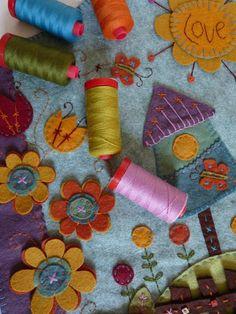penny rugs, mariann byrnegoarin, lana thread, grow, gardens, october, embroidery stitches, wool, felt flowers