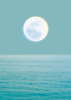 Moonrise above water