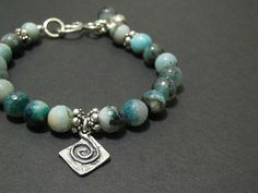 Crackle Agate Bracelet Turquoise Blue by ThePrivateCollection, $52.00