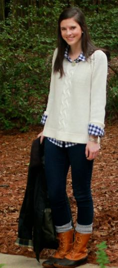 navy gingham shirt + cream fisherman knit sweater + skinny jeans + Bean boots
