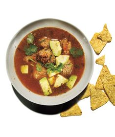 Mexican Meatball Soup Get the recipe: http://www.realsimple.com/food-recipes/browse-all-recipes/mexican-meatball-soup-00000000031457/index.html