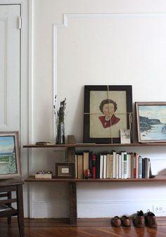 homemade low wide shelf