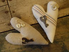 Heart pillows....Love the little keys and buttons on it!