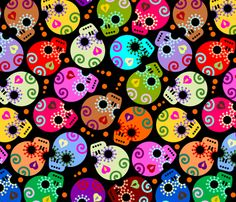 DOTD skulls black medium size fabric by thirdhalfstudios on Spoonflower - custom fabric skulls, fabric patterns, wall decals, spoonflower, fabric design, wallpapers, medium, black, sugar