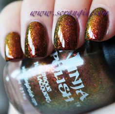 Scrangie: Ninja Polish Color Changing Garnet Swatches and Review  Available - http://www.ninjapolish.com/product.php?productid=18106=358=1 Ninja Nail Polish Lacquer Floam Holographic metallic effect nail polish @opulentnails #ninjanails #floam