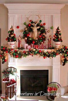 holiday, christmas fireplace, whimsical christmas, christma decor, deer heads, christma mantel, garland, christmas mantles, christmas mantels