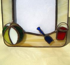 Day at the Beach 4 x 6 Stained Glass Picture Frame by hobbymakers, $21.00