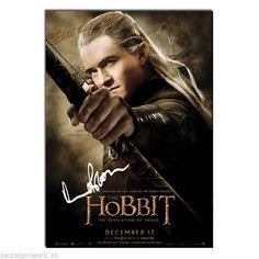 Orlando Bloom signed poster A4 rpt The Hobbit Desolation of Smaug Legolas Elf