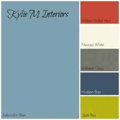 labador blue by benjamin moore paint colour palette with red, cream, gray, navy blue and green for boys room