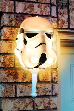 Storm Trooper Porch Light Cover! - $7.99 http://www.strictlymancave.com/storm-trooper-porch-light-cover/ #starwars #light
