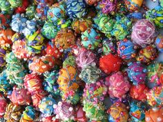 Embellished Fabric Beads - what glorious fun! | QuiltRobin