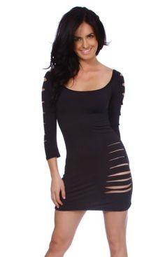 Sexy Clubwear Black 3/4 Sleeve Abstra... (bestseller)