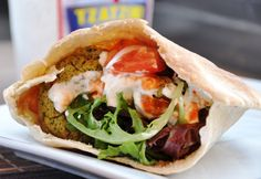 Baked falafel sandwich... I need to try this!