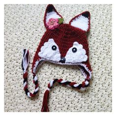 Isnt this absolutely adorable? This cute fox hat could be made for boy or girl in any size you need. Made with soft acrylic yarn is the