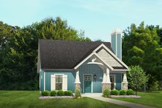 This tiny cottage packs a big layout at 900 square feet with 2 bedrooms and a bath, a living room with a vaulted ceiling and fireplace and an eating bar between the kitchen and living area.  To learn more or to purchase this #tinyhouseplan | http://www.thehousedesigners.com/plan/the-aiden-7105/