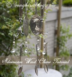 How to make wind chimes from vintage silverware  www.songbirdblog.com #diy #porch