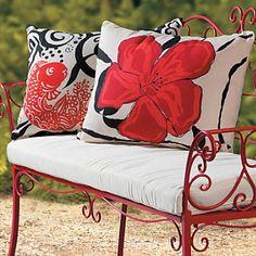 Outdoor pillows. Red Hibiscus & Koi.