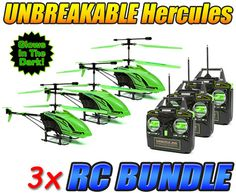 Glow In the Dark Hercules Unbreakable 3.5CH RC Helicopter 3-Pack Bundle