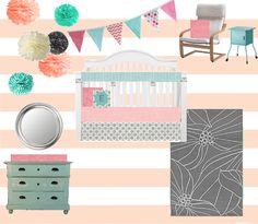 Pink, Grey, and Aqua Nursery on a Budget!