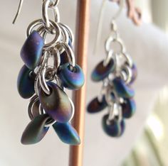 Sterling Silver Chain Maille Earrings Black Magatama Beads