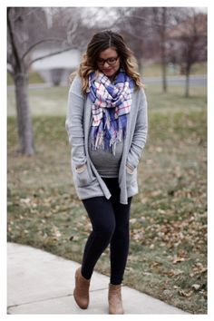 fall/ winter maternity style: gray cardigan, blue plaid scarf, jeggings  ankle boots / maternity fashion