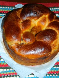 Cozonac - Romanian traditional sweet bread, filled with walnuts, cocoa and raisins. Baked mainly at Christmas and Easter.