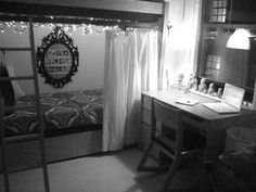 Curtains on bottom bunk bed, keeps light out! Brilliant! Dorm decor, dorm ideas, girls dorm, college dorm