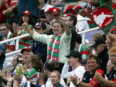 Ray Martin celebrates the Rabbitohs golden point win over Wests Tigers at Aussie Stadium, 2004.