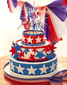 red white and blue cake for Fourth of July