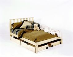 Queen Size - Mission Platform Bed Frame - Unfinished, Chemical Free Pine - Made in USA - Solid Wood $199.00