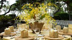 tropical yellow orchid centerpiece | Sheraton Kona | Starwood Weddings
