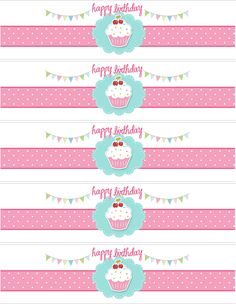 themed birthday parties, bottle labels, free birthday, free printables water, party printables, cupcak theme, water bottl, parti printabl, bottl label