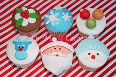 Christmas cupcakes Santa pudding balls Rudolph snowman snowflake